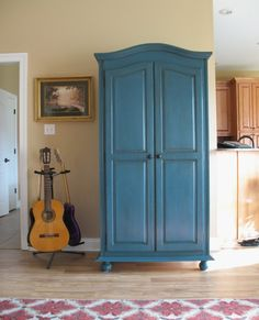 Painted my TV armoire with Annie Sloan chalk paint, Aubusson Blue. Details and before photo at link. ASCP