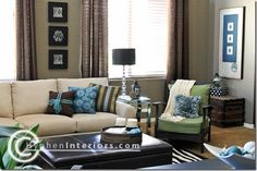 Brown, blue living room with a little green. Love how peaceful!