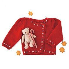 Kit tricot cardigan rouge fleuri - Houppelande