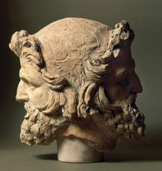 Two-faced Janus head, from Vulci, Montalto di Castro, Viterbo Province, Italy. Ancient Rome, Ancient Greece, Ancient Art, Ancient History, Chef D Oeuvre, Oeuvre D'art, Roman Sculpture, Lion Sculpture, Roman Mythology