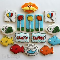 Doctor Seuss Cookies. I love the fish ones for taking fishing or use in another party theme! The Partiologist