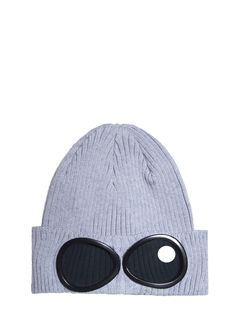 C.P. Company Cotton Goggle Beanie Hat in Light Grey ff83027f953