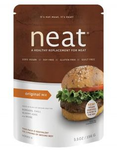 Neat Original Mix plant-based protein for meat dishes. PECANS, GARBANZO BEANS, GLUTEN FREE WHOLE GRAIN OATS, CORNMEAL, GARLIC, ONION, SEA SALT, SPICES.