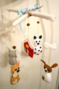 Cute felt dogs mobile for crib or room by TheMemis on Etsy, $60.00
