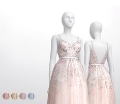 Rusty Nail: Soft Pink Embellished tulle gown dress • Sims 4 Downloads