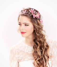 pink flower crown - 16 Minimalist Bridal Hairstyles For Long Hair