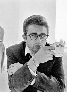 James Dean, hoping a cuppa joe will wake him up...!