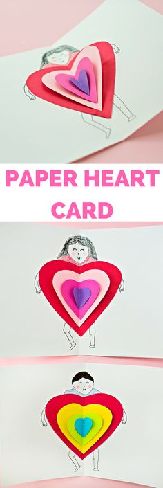 DIY Paper Heart Card. Cute card kids can make for Valentine's Day or Mother's Day. Printable template to draw their self-portrait #kidsart #kidscraft #valentinecraft #mothersdaygift