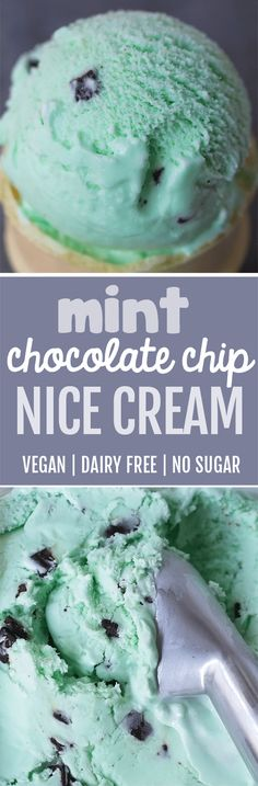 Mint Chocolate Chip Nice Cream - so simple - just 4 ingredients, and it's vegan, gluten-free, paleo, and has no added sugar! Dairy Free Bread, Dairy Free Snacks, Dairy Free Breakfasts, Dairy Free Recipes, Celiac Recipes, Vegan Recipes, Cooking Recipes, Potato Recipes, Vegetable Recipes