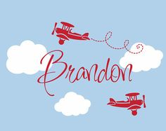 Airplane Wall Decals Airplane Cloud And Personalized Name Vinyl - Vinyl wall decals airplane