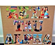 Cut out photos in the shape of letters to create a sorority photo collage! #DIY