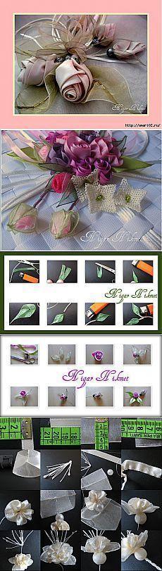 Красивые листики и цветы из лент | Самоделкино: