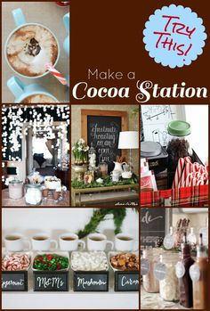 Try this! 9 ways to create a hot cocoa station for your family party or during Christmas. Kids will love this during the holidays!