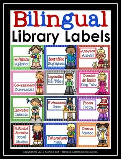 "Bilingual Classroom Library Labels are a great way to organize your classroom. 2 different sizes are included: Book Labels 1"" x 2.63"" (Avery #5160) Book Basket Labels (3"" x 4"")"