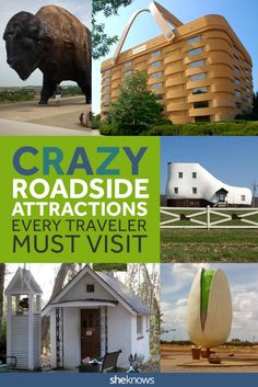 Road side attractions every road tripper should see. Plan your ultimate road trip across America based on the crazy attractions! Road Trip Usa, Family Road Trips, Family Travel, Family Vacations, Midwest Vacations, Route 66 Road Trip, Vacation Destinations, Vacation Trips, Vacation Ideas