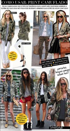 Militar, Hot or Not? Camo Jacket, Green Jacket, Fashion 2017, Fashion Outfits, Fashion Trends, Looks Style, My Style, Camouflage Fashion, Looks Pinterest