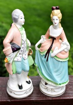 """Vintage Occupied Japan Large Porcelain Colonial Couple Figurines are an amazing couple in simply wonderful condition.  """"Occupied Japan"""" (OJ) is a term used for the time period after World War II from"""
