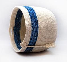 Rope Coiled Basket  Blue Bandanna by PaleMoonTreasures on Etsy