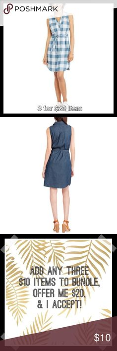 Denim Sleeveless Dress in Plaid Denim Sale! Price is firm unless 3 for $20 bundled. Made of soft and breathable 100% cotton, this dress has a classic denim construction, and includes a removable self-tie belt for a flattering silhouette. The V neckline and sleeveless style offers a comfortable and relaxed fit. Pair with flats for a casual look or wear in cooler weather with tall boots and cardigan. Fold-over collar, A-line hem. Pull on style. Also available in Medium and Dark Denim. Faded…