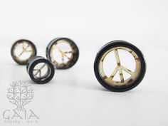 Alargadores Vazados Paz & Amor de 12mm a 22mm - Gaia Bod Art