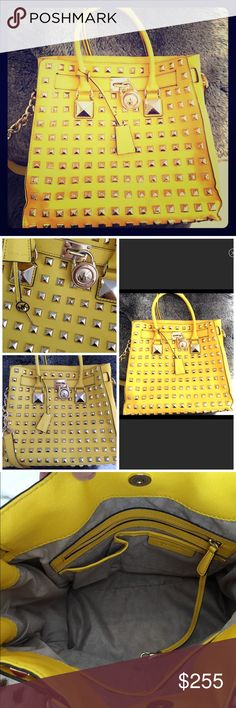 MIcheal Kors Studded Hamilton Gorgeous Michael Kors Yellow Studded Hamilton bag in almost perfect condition. It was used a handful of times and has been in a dust bag. Michael Kors Bags Totes
