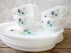 Milk glass Snack Set, MCM mid century modern, atomic turquoise and pink leaf pattern, plate with cup,