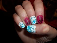 blue black white pink flame fire nails