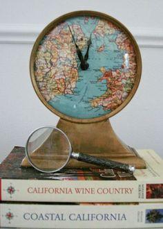 travel diy world map vintage table clock