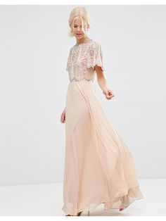 Asos Embellished scallop sleeve maxi dress