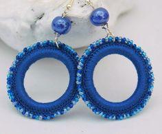 Aros -  pendientes de ganchillo - aretes - zarcillos -crochet Joyeria textil Pendientes azules Idea para regalo