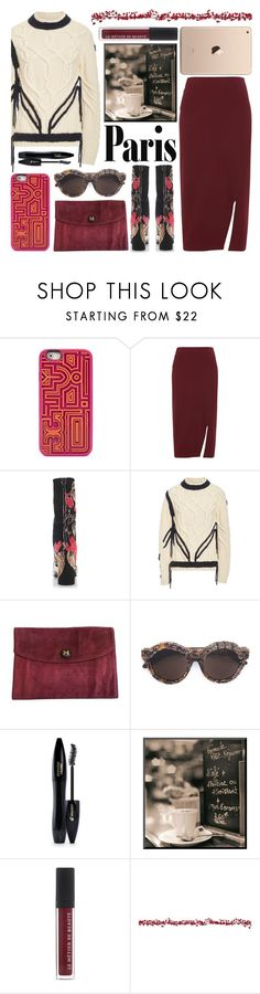 """fall in love"" by foundlostme ❤ liked on Polyvore featuring Tory Burch, Whistles, MSGM, ORLEY, Hermès, Kuboraum, Lancôme, Premier Decorations, Sweater and midiskirt"