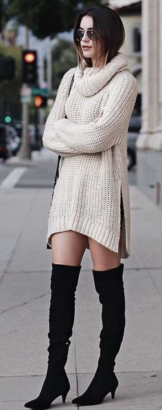 Beige, Chunky Knit On Black Over-the-Knees, Boots / fall Street Style.