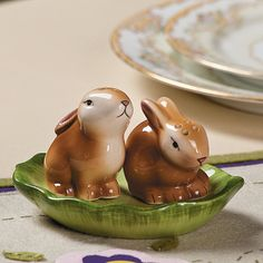 Bunny Salt & Pepper Shakers on Leaf - bring out first at easter and keep out all spring