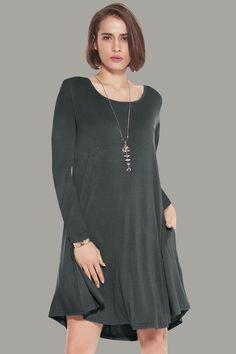04f9a6327cf Larace Women Plain Pockets Dress long sleeve Swing Loose Tunic Dress –  LARACE Long Sleeve Tunic