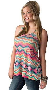 Karlie Women's Pink and Green Multi Abstract Tissue Knit Sleeveless Tank Top | Cavender's