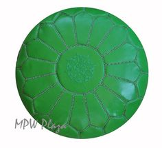 A personal favorite from my Etsy shop https://www.etsy.com/listing/191991384/sale-green-leather-poufsottomans-sold-un