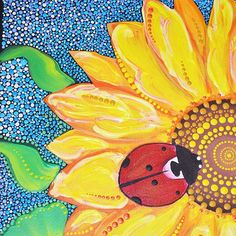 Good morning souls... Wish to all a sunny and lucky week with My Sunflower Ladybug  Acrylic paint on 35x45cm canvas (Dot Art ) https://www.etsy.com/shop/OleseaArts  #sunflower #sunflowerpainting #sunfloweracrylicdesign #ladybugpainting #ladybuglove #ladybuggallery #dotart #dotillism #dottilism #dotwork #mandalas #mandalaart #mandalapainting