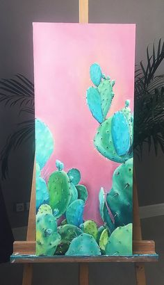 Pastel Green wall - Succulent pictures Cactus oil painting Light green wall art Botanical Fine Art Pastel green painting Cactus picture Over bed art Canvas Art. Cactus Painting, Cactus Wall Art, Plant Painting, Plant Art, Light Painting, Cactus Cactus, Indoor Cactus, Cacti, Mini Toile