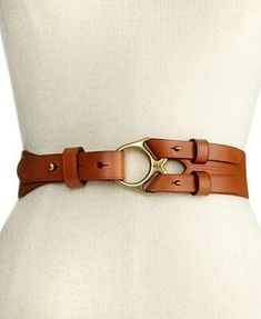 Lauren Ralph Lauren Belt, Vachetta Leather with Metal Ring.the metal ring looks to be what is used in halters. This is a fun twist for the buckle. The back looks like there is lots of potential to be creative. Leather Accessories, Handbag Accessories, Fashion Accessories, Ceinture Large, Ralph Lauren, Bracelet Cuir, Fashion Belts, Women's Fashion, Fashion Trends