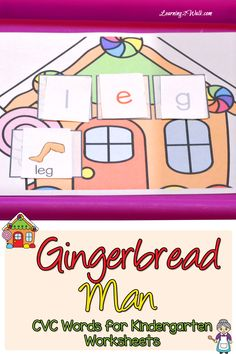 My daughter thoroughly enjoyed playing with her Gingerbread Man CVC Word kindergarten worksheets.