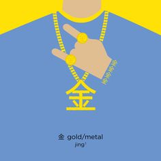 The character for 'gold' is 金. Originally, the character depicted copper ore cast in a metal container, and meant 'metal'. Later, the character's meaning has been extended to mean 'gold'. 金 is commonly seen as a component in the characters which relate to 'metal', such as 銀 (silver) and 銅 (bronze; copper). By adding another character 牌 (placard; card), then we can form three useful words: 金牌 (gold medal), 銀牌 (silver medal) and 銅牌 (bronze medal). #Rio2016