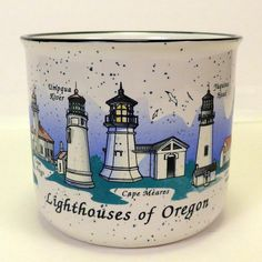 Lighthouses of Oregon Souvenir Speckled Stoneware Coffee Cup Mug White & Blue