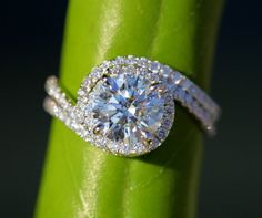 unique engagement wedding ring sets | Wedding Set - 14k White gold - Diamond Engagement Ring and matching ...