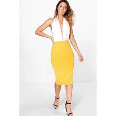 Boohoo Esme Ribbed Midi Skirt ($14) ❤ liked on Polyvore featuring skirts, orange, pin skirt, orange mini skirt, white party skirt, orange midi skirt and evening skirts