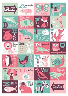 Nursery art girl AZ animals print alphabet art by BubbleGumYears