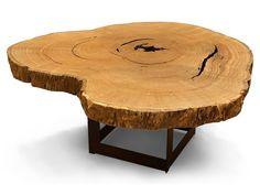 Organic Pequi Slab Top Dining Table - Metal Base