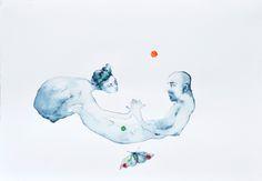 sopra una falena, 2013, acquarello su carta, 15x25 cm