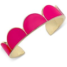 kate spade new york Gold-Tone Pink Enamel Cuff Bracelet ($88) ❤ liked on Polyvore featuring jewelry, bracelets, pink, kate spade jewelry, gold tone bangles, gold tone cuff bracelet, kate spade bangle and goldtone jewelry