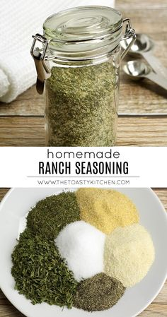 Ranch Seasoning is a tangy, fresh seasoning blend made with herbs and spices. Use on vegetables, chicken, or to make homemade salad dressing. Homemade Dry Mixes, Homemade Ranch Seasoning, Homemade Spices, Homemade Seasonings, Seasoning Mixes, Homemade Recipe, Homemade Salsa, Garlic Herb Seasoning Recipe, Dry Rubs