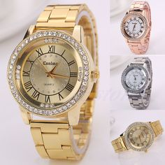 Women's Men's Crystal Rhinestone Stainless Steel Roman Analog Quartz Wrist Watch #Unbranded #LuxuryDressStyles
